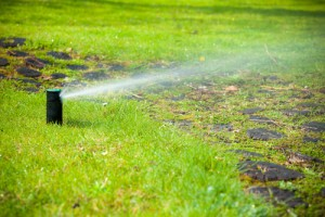 Sprinkler system on green lawn