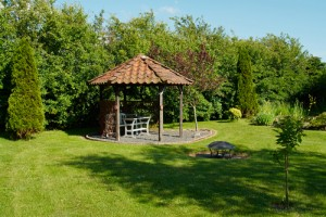 Gazebo in shaded yard