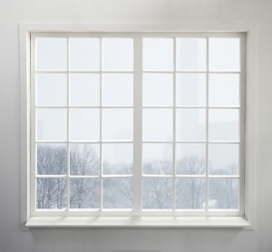 Winter scene outside window